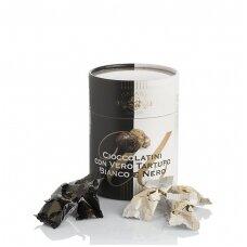 Saldainiai su juoduoju ir baltuoju trumu, 50g+50g
